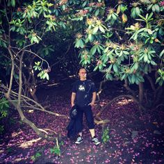 My husband hiding in the bushes