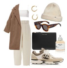 """""""beige"""" by wyawyd ❤ liked on Polyvore featuring Comme des Garçons, Maison Margiela, Giuliana Romanno, Wood Wood, Chanel and CÉLINE"""