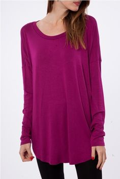 FANTASTIC FAWN SOLID KNIT TOP KT1066B-125 MAGENTA - Peach Love California Wholesale