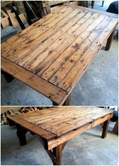 Choosing a rustic wood pallet table for your house outlook is a perfect idea to bring magnificent impression in your house. This design of wood pallet table is finished in an artistic masterpiece which you can even hold for using it as a dining table.