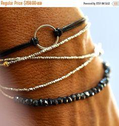 Silver beads bracelet - wrap bracelet - delicate bracelet by Vivien Frank Jewelry Box, Jewelery, Jewelry Bracelets, Jewelry Accessories, Fashion Accessories, Jewelry Design, Jewelry Making, Silver Bracelets, Fine Jewelry