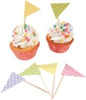 Party Partners Design Polka Dot Pennant Flags Short Decorative Food Picks, Multicolored, Set of 24