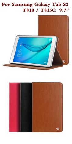 """[Visit to Buy] Fashion Leather Case for Samsung Galaxy Tab S2 9.7"""" T810 Tablet Cover T815C T815 Protective Skin Shell Screen Film Pen As Gift #Advertisement"""