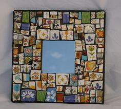 "Love this! ""Flowers and Such"", various broken plates, 10x10 Mirror #art #diy #craft #mirror #broken #mosaic"