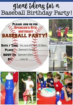 "You don't have to ""take me out to the ball game""! Just invite the guests over to your house or a nearby park to host your own baseball birthday party! I've got lots of great ideas and tips in this post! Baseball Birthday Invitations, Birthday Party Invitations Free, Birthday Party At Home, Birthday Party Games For Kids, Boy Party Favors, Baseball Birthday Party, Birthday Activities, Birthday Themes For Boys, Kids Party Themes"