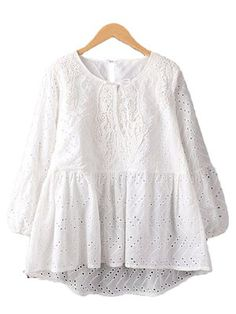 'Maggy' White Eyelet Lace Peplum Top Sizing & FitO/S - Relaxed fit MeasurementsLength: from shoulderBust: Fabric & Care Instructions Fabric: cotton Lace Peplum, Eyelet Lace, Peplum Tops, Womens Clothing Stores, Clothes For Women, Designs For Dresses, Latest Street Fashion, Affordable Clothes, Chiffon Tops