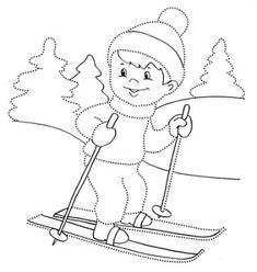 Sports Coloring Pages, Colouring Pages, Coloring Pages For Kids, Winter Activities For Kids, Preschool Activities, Simple Car Drawing, Xmas Drawing, Winter Drawings, Christmas Quilt Patterns