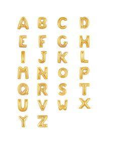 Gold Mylar Letter Balloons via Efhamar, 9.50 CAD