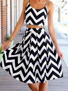 2d59d296e2f0 White Black Chevron Stripe Spaghetti Strap Scoop Neck Crop Top Pleated  Flare A Line Midi Skirt Two Piece Dress from Indie XO