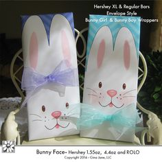 Easter Bunny Faces Printable Wrappers --- Boys and Girls in Envelope Style and Open End Style - Rolos, Hershey 1.55 Regular Size, and Hershey XL 4.4oz Bars -  Add ribbons for hair bows and bow ties to make super cute Easter Bunny Basket Fillers and gifts for friends! DAISIE COMPANY: Printable Digital Paper Crafts, Clipart, Scrapbooking, Stamp, Party - DaisieCompany.com
