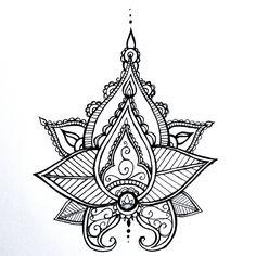 iLLustrations — Lotus Mandala Temporary Tattoo Henna Style Hand...