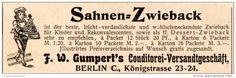 Original-Werbung/Inserat/ Anzeige 1902 - SAHNEN-ZWIEBACK / GUMPERT'S KONDITOREI-VERSANDTGESCHÄFT ca. 20 x 90 mm