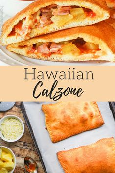 Hawaiian Calzone Recipe – The perfect recipe when you're on-the-go. Simply stuff premade pizza dough with ham, pineapple, and cheese. Ham And Cheese Omelette, Cheese Calzone, Pizza Recipes, Crockpot Recipes, Cooking Recipes, Ham Recipes, Ham Breakfast, How To Make Breakfast, Gourmet