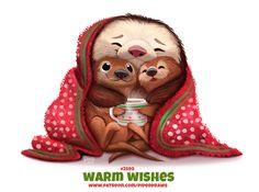 Warm Wishes - Word Play by Cryptid-Creations on DeviantArt Cute Food Drawings, Cute Animal Drawings Kawaii, Kawaii Art, Illustration Noel, Cute Animal Illustration, Illustrations, Animal Puns, Animal Food, Cute Chibi
