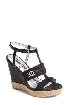 Sam Edelman 'Karley' Leather T-Strap Wedge Sandal (Women) available at #Nordstrom