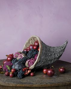 DIY Metallic Cornucopia — the perfect Thanksgiving centerpiece! (Via @marthastewart)