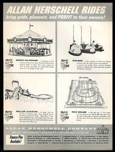 Allan Herschell amusement park rides carousel Mad Mouse Dodgem coaster advertisement