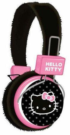 Hello Kitty 35009 Plush Headphone with Plush Ears, Pink and Blac