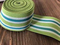 2.4 in (6 cm) Green, blue and white Striped Elastic Webbing,  Belt Elastic, Wasitband elastic, elastic for bomber jackets, shoe elastic by NoaElastics on Etsy