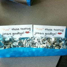 """kiss"" those testing jitters goodbye!  @April Eadie   (the kids would love this too)"