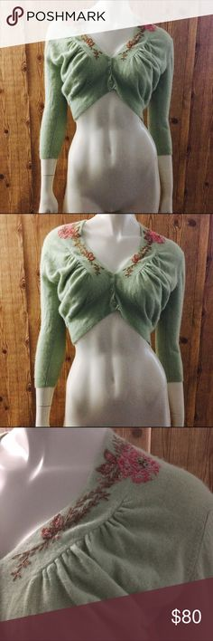 Free People Angora Rabbit Hair Embroidered Shall! Size medium! Free People Tops Blouses