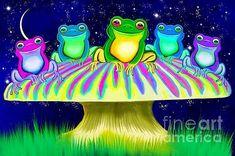Frogs Digital Art - Colorful Mushroom Frogs by Nick Gustafson Mushroom Wallpaper, Frog Wallpaper, Mushroom Paint, Frog Pictures, Frog Art, Cute Frogs, Wood Print, Painting Inspiration, Fine Art Photography