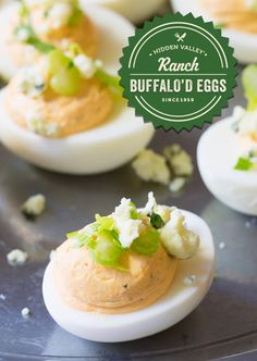Turn up the heat on your deviled eggs with these buffalo'd eggs from @spicyperspectiv. Creamy ranch + tangy buffalo + blue cheese & celery = bite-sized yum!