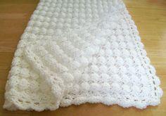 Crochet White Baby Blanket Shell Pattern Handmade Girl Boy Great Gift Baptism 3 • £38.57