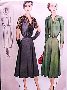 Beautiful Cocktail Evening Dress Pattern McCALLS 8736 Low V Neckline Lace Inserts Version Bust 30 Vintage Sewing Pattern FACTORY FOLDED-Authentic vintage sewing patterns: This is a fabulous original dress making pattern, not a copy. 1950s Dress Patterns, Evening Dress Patterns, Dress Making Patterns, Vintage Sewing Patterns, Fashion Patterns, Vogue Patterns, Clothing Patterns, 1950s Fashion Women, Retro Fashion