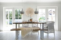 The ultimate dining room by Three Bird Renovations. Pendants, flooring and French doors all from Bunnings!