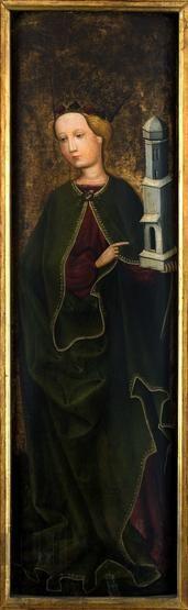 Św. Barbara. Skrzydło z retabulum ołtarzowego z Maniów, 1460-1470