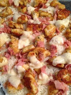 Chicken Cordon Bleu Casserole On a link I saw these suggested changes- they sound good: instead of chicken, use boneless pork chops (cook them as instructed in the recipe) besides ham -cook 3 pieces of bacon until crisp. Chop them up and add to the pork once it is cooked. Use leftover rice - throw it in the pan to heat. Use Swiss cheese instead of Provolone