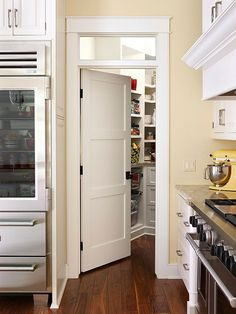 Fun Ways to Dress Up a Pantry Door, I like the little window cutout above the door.. But maybe a barn looking door instead?