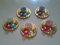 Small size diwali candles platter.... Diwali Lantern, Diwali Candles, Diy Candles, Diwali Decorations, Festival Decorations, Flower Decorations, Wedding Decorations, Cd Crafts, Bottle Crafts