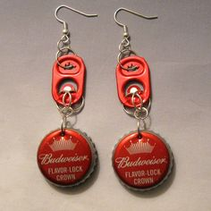 Bottle cap and can pull tab earrings