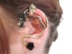 Gothic black flower cabochon dragon ear cuff by StylesBiju on Etsy, $14.90