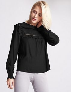Long Sleeve Tassel Blouse | M&S