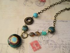 Kazuri Bead Necklace Teal Turquoise Brass by KnotJustMacrame