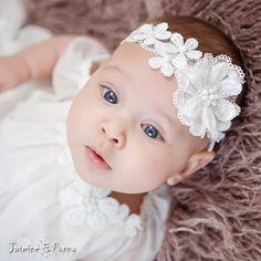 Christening headband baby headband ivory by JasmineAndPoppy