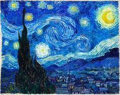 12)Vincent, Van Gogh. La nuit etoilée, 1889, óleo sobre tela. Museu de Arte Moderna de Nova Iorque. MoMa. Movimento, cor e luz, não apenas o desenho.