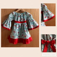 Boho Cotton Birds and Flowers Fall/Winter Peasant Dress, girls size 5 by…