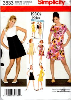 3833 Simplicity Uncut Sewing Pattern Misses 1960'2s Retro  Dress in Two Lengths 14, 16, 18, 20,22