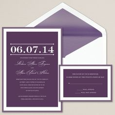 Oh Happy Day Wedding Invitation   Wedding Invitation Purple and great for millennium wedding date