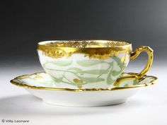 Limoges Jean Pouyat green leaf pattern cup and saucer
