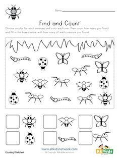 Bug Worksheets for Preschoolers Bug Find and Count Worksheets All Kids Network Printable Preschool Worksheets, Worksheets For Kids, Kindergarten Worksheets, In Kindergarten, Free Printable, Preschool Bug Theme, Free Preschool, Preschool Activities, Summer Activities For Preschoolers