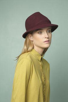 Fedora Felt Hat for Women & For Men  Maroon Felt by JustineHats