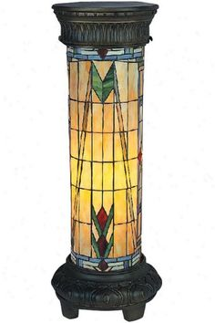 Mission stained glass floor pedestal lamp
