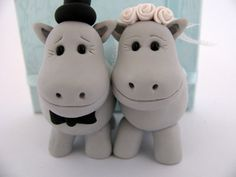 Hippo love - wedding cake topper by Yaelsplace via DaWanda