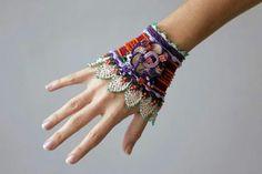 Crochet cuff in violet burgundy and beige colors Love Crochet, Learn To Crochet, Crochet Yarn, Fabric Bracelets, Hand Jewelry, Jewellery, Crochet Gloves, Crochet Bracelet, Wrist Warmers