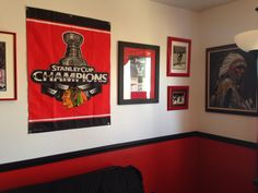 1000 images about chicago sports basement on pinterest for Chicago blackhawk bedroom ideas